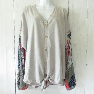 Umgee Top Tie Front Patchwork Sleeve Plus Size